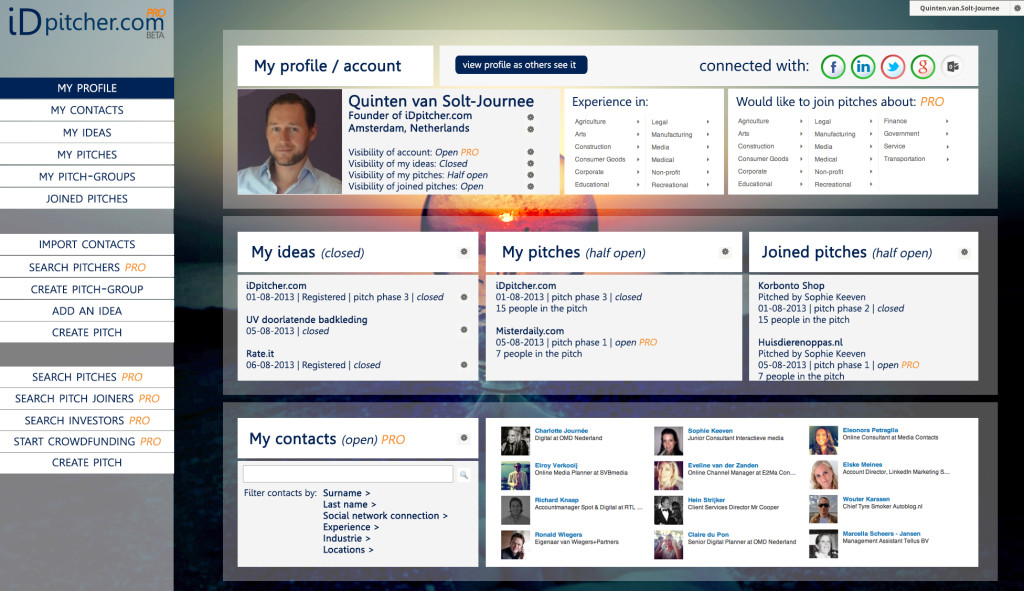 ideapitcher old profile page